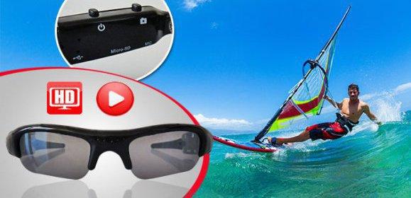 DVR slnečné okuliare s mikro kamerou a slotom na SD karty.